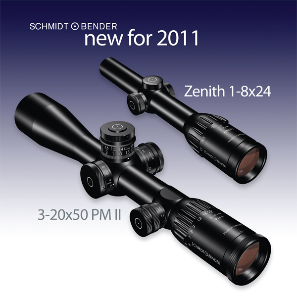 New products 2011 with the 1-8x24 Zenith (later: Exos) and 3-20x50 PM II